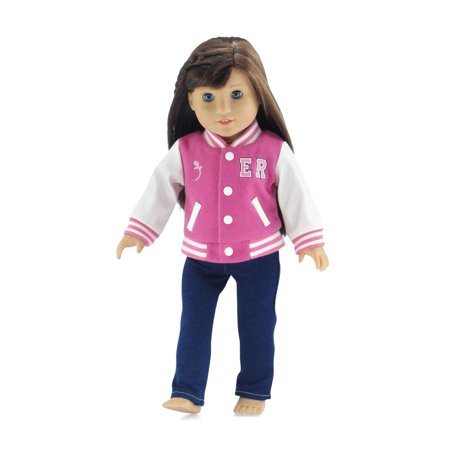 18 Inch Doll Clothes | Gorgeous Varsity School Jacket Basics Outfit with Blue Stretch Skinny Jeans and Long Sleeved T-Shirt | Fits American Girl Dolls