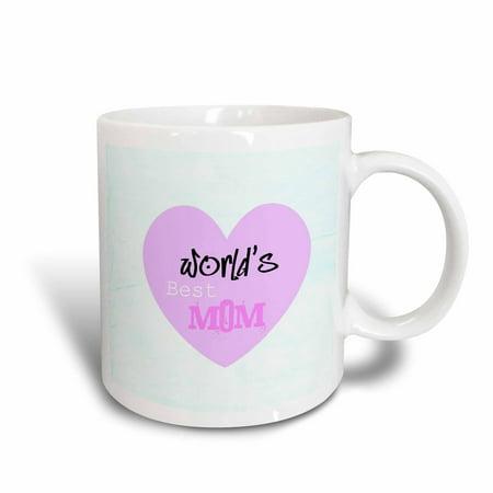 3dRose Worlds Best Mom Pink Heart Mothers Day Love, Ceramic Mug,