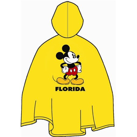 Yellow Rain Poncho (Disney Adult Poncho Raincoat Mickey Florida Namedrop)