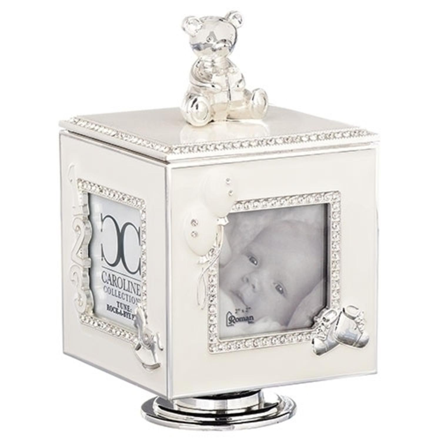 Set of 2 Silver Musical Cubes with Mini Bear 4 Photo Picture Frames 6""
