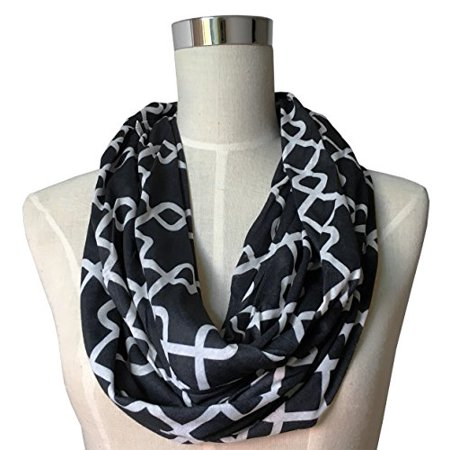 Womens Fashion Infinity Scarf - Pop Fashion Womens Interlocking Chain Square Pattern Infinity Scarf with Zipper Pocket