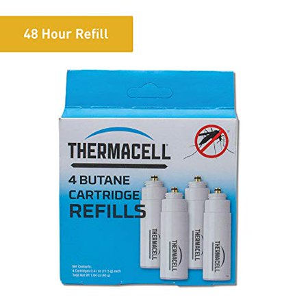 Thermacell Mosquito Repellent Fuel-Only Refills, 4-Pack; Cartridges Last 12 Hours Each Keep the adventure alive with hours of fuel for Thermacell mosquito protection. This pack of 4 fuel cartridges ensures each fuel-powered Thermacell device  from portable repellers to backyard torches  maintain a 15-foot area of protection when used with repellent mats. The innovative Thermacell technology delivers highly effective protection against mosquitoes without the use of messy and smelly lotions, creams, sprays or wipes. Fuel cartridges provide scent-free, spray-free and mess-free heat that activates repellent mats (not included) within a Thermacell device. No more open flames, chemical sprays or oily solutions, and no more pesky mosquitoes. Thermacell fuel cartridges are easy to carry and easy to store. Evaluated by the EPA for safety and effectiveness, Thermacell products also come with a 100% satisfaction guarantee. Whether canoeing, hiking or enjoying the backyard, keep Thermacell devices well fueled with Thermacell Fuel Cartridge Refills. Turn it on Mosquitoes Gone.