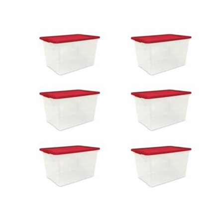 Mainstays 64 Quart Clear Tote, Red Lid And Latches, Set of 6