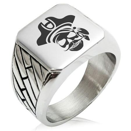 Stainless Steel Sea Dog Pirate Skull Emblem Geometric Pattern Biker Style Polished Ring
