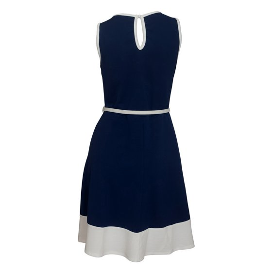 Plus size Sleeveless Color Block Dress Navy