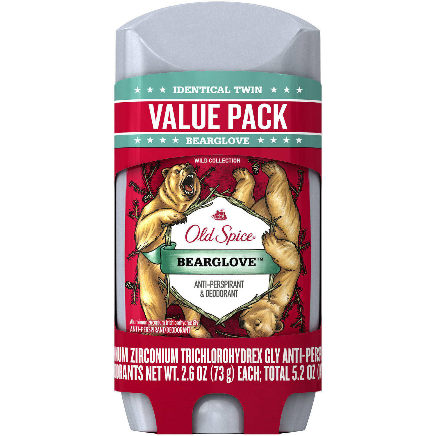 Old Spice Wild Collection Bearglove Invisible Solid Anti-Perspirant & Deodorant, 2.6 oz, 2 count