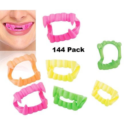 Neon Vampire Fangs, Halloween Bright Color Plastic Teeth Dentures - Pack of 144](Custom Vampire Dentures)