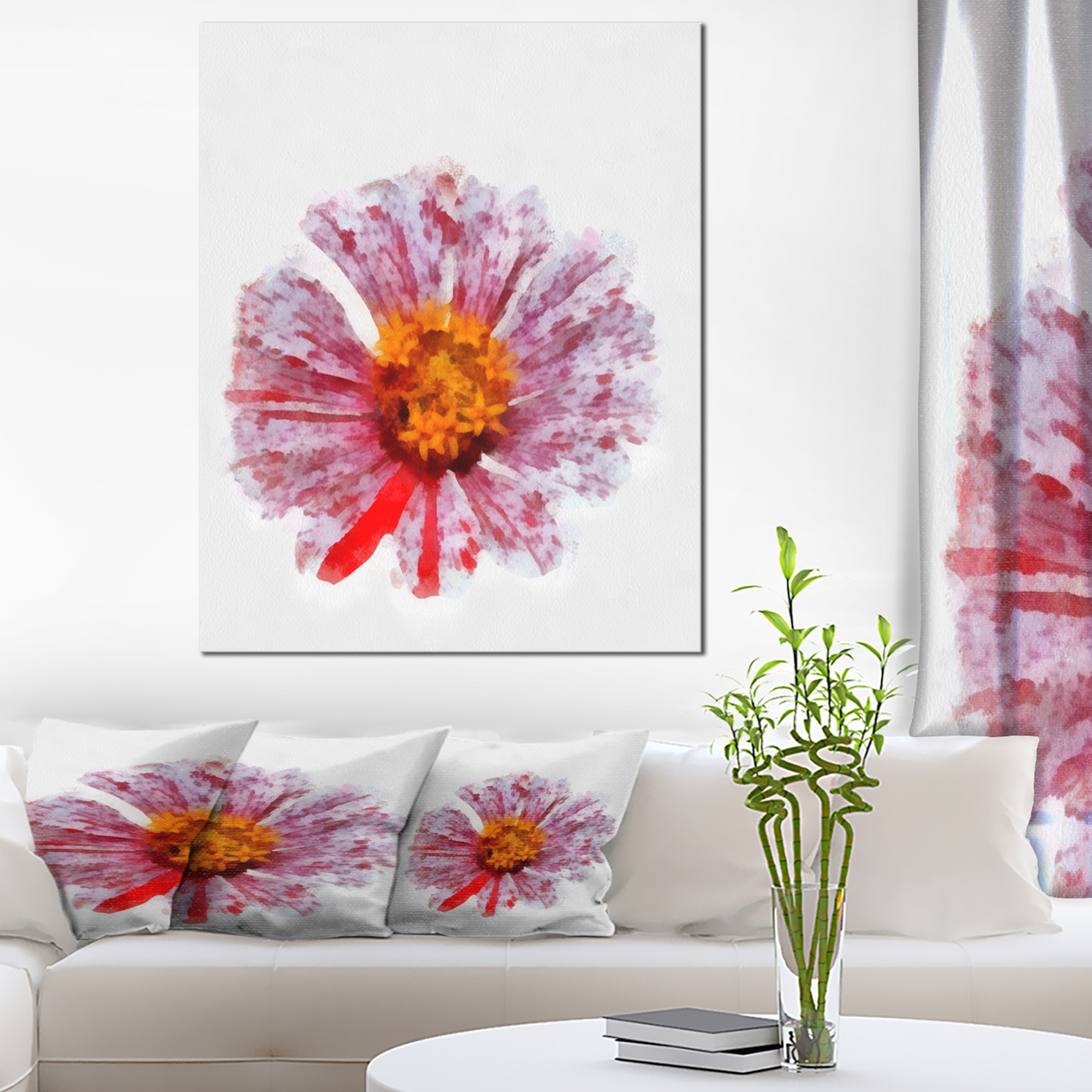 large red yellow flower painting large floral canvas artwork
