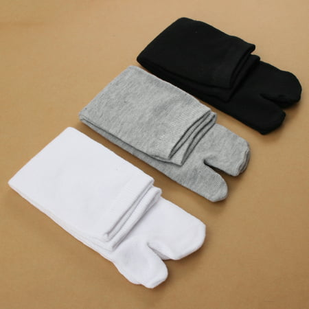 Grtsunsea 3 Pairs/Set Unisex Women Men Japanese Split Toe Socks Kimono Flip Flop Sandal Tabi Ninja Geta Black+White+Grey 3 Color Set ()