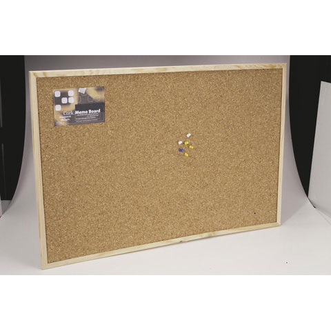 Cork Memo Board with Push Pins and Wood Frame - 24 x 35 inches