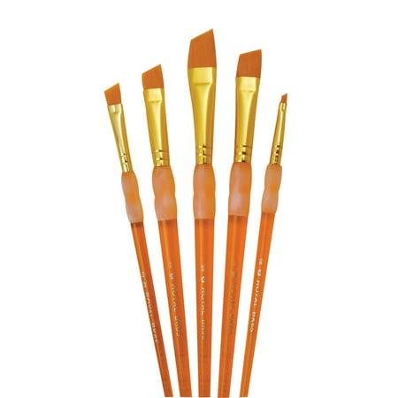 (Royal Brush Big Kids Choice Deluxe Angular Synthetic Paint Brush Set, Assorted Size, Orange, Set of 5)