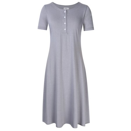 Womens Cotton Short Sleeve Knit Nightgown, Long Henley Sleep Dress