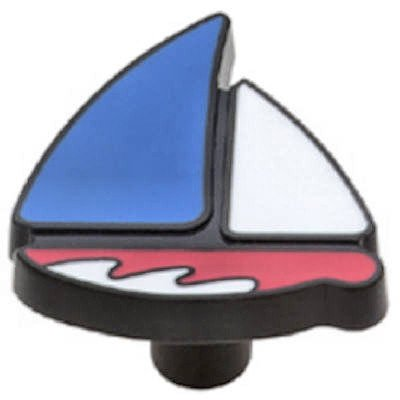 44 MM Sailboat Knob Red & Blue Metal -