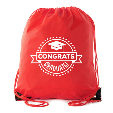 Senior Graduation Drawstring Backpacks Personalized Party Favor Cinch Bags - Congrats Graduate - Black And Gold Graduation