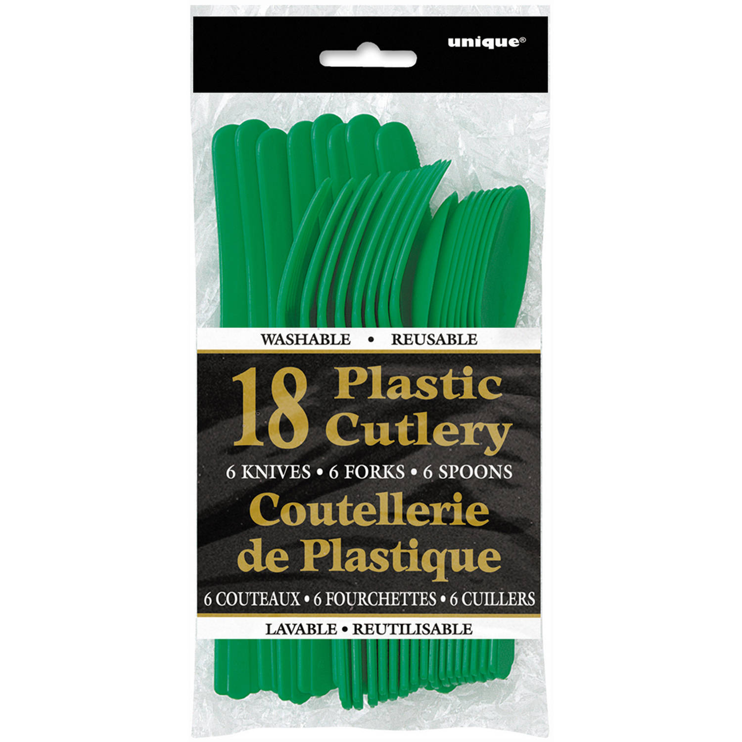 Assorted Plastic Silverware for 6, Green, 18pc