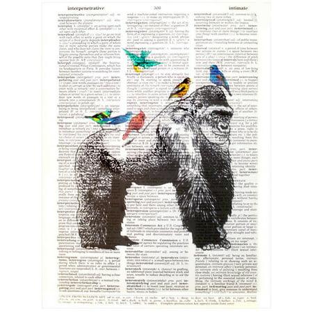 Art N Wordz Gorilla Birds Original Dictionary Page Wall/Desk Pop Art Print