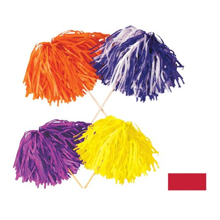 Club Pack of 144 Solid Red Pep Rally Tissue Shaker Pom Pom Accessories (Halloween Pep Rally Themes)