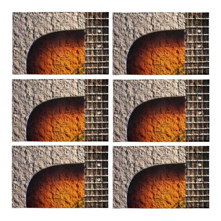 MKHERT Vintage Acoustic Guitar On Stone Wall Placemats Table Mats for Dining Room Kitchen Table Decoration 12x18 inch,Set of 6 (Guitar Table Decorations)