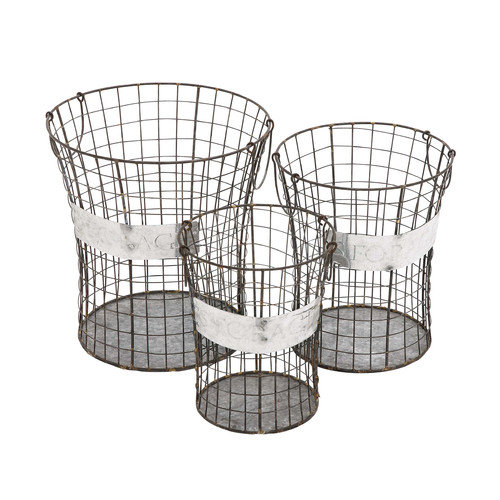 Woodland Imports 3 Piece Handy Metal Wire Basket Set