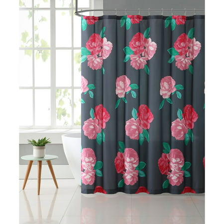 VCNY Home Charcoal Rose RoseMary Floral 72 X Shower Curtain