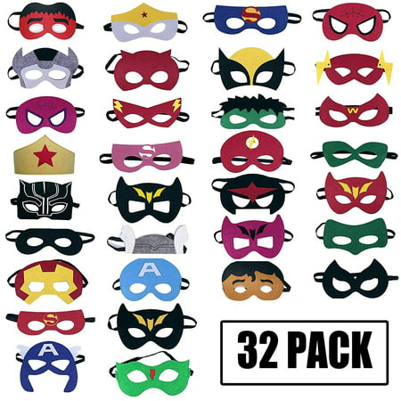 Peroptimist Superhero Masks Party Favors for Kid - Felt and Elastic - Superheroes Birthday Party Masks with 32 Different Types Perfect for