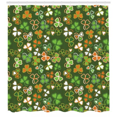 St. Patrick's Day Shower Curtain, Lucky Shamrocks Pattern Irish Clover Celebration Day Party Prints, Fabric Bathroom Set with Hooks, Green and Orange, by Ambesonne