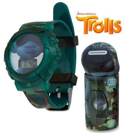 Trolls Green LCD Flashing Lights Wrist Watch w Tin Coin Bank