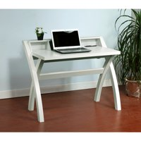 Sleek Contemporary Desk With Cross Legs, White