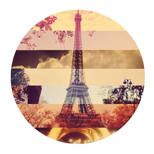 POPCreation Retro Stripe Style Paris Eiffel Tower and Tree Round Mouse pads Gaming Mouse Pad 7.87x7.87 inches