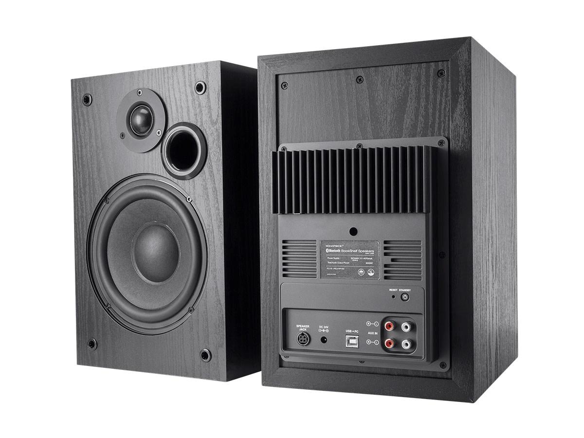 Monoprice 200 Watt Bi Amped Bluetooth Bookshelf Speakers With USB