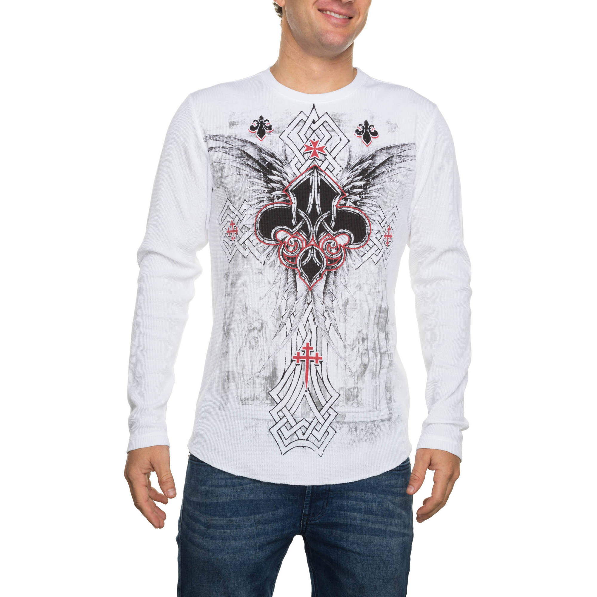 Faded Glory Big Men's Long Sleeve Cathedral Saints Graphic Thermal, 2XL