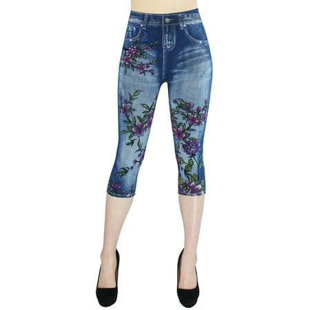 Women's Floral Print Capri Casual 3/4 Leggings Jeggings Pants Capri Print Leggings