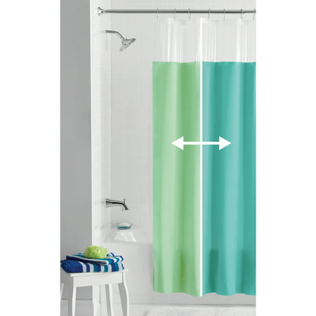 Mainstays Blue/Green Reversible PEVA Shower Curtain