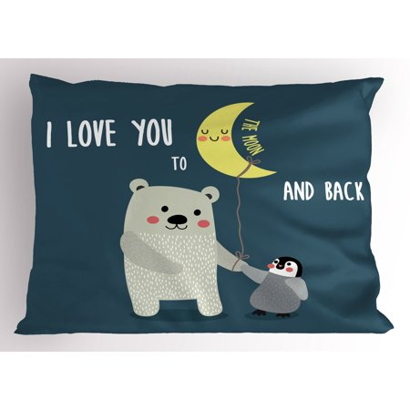 I Love You Pillow Sham Teddy Bear and Penguin Best Friends Arctic Lovers under Moon Cartoon, Decorative Standard Queen Size Printed Pillowcase, 30 X 20 Inches, Slate Blue Grey Yellow, by
