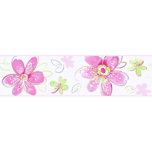Bohemian Floral Wall Border, Pink/Lime Green