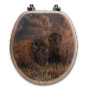 WGI-GALLERY Distant Thunder Bison Oak Round Toilet Seat