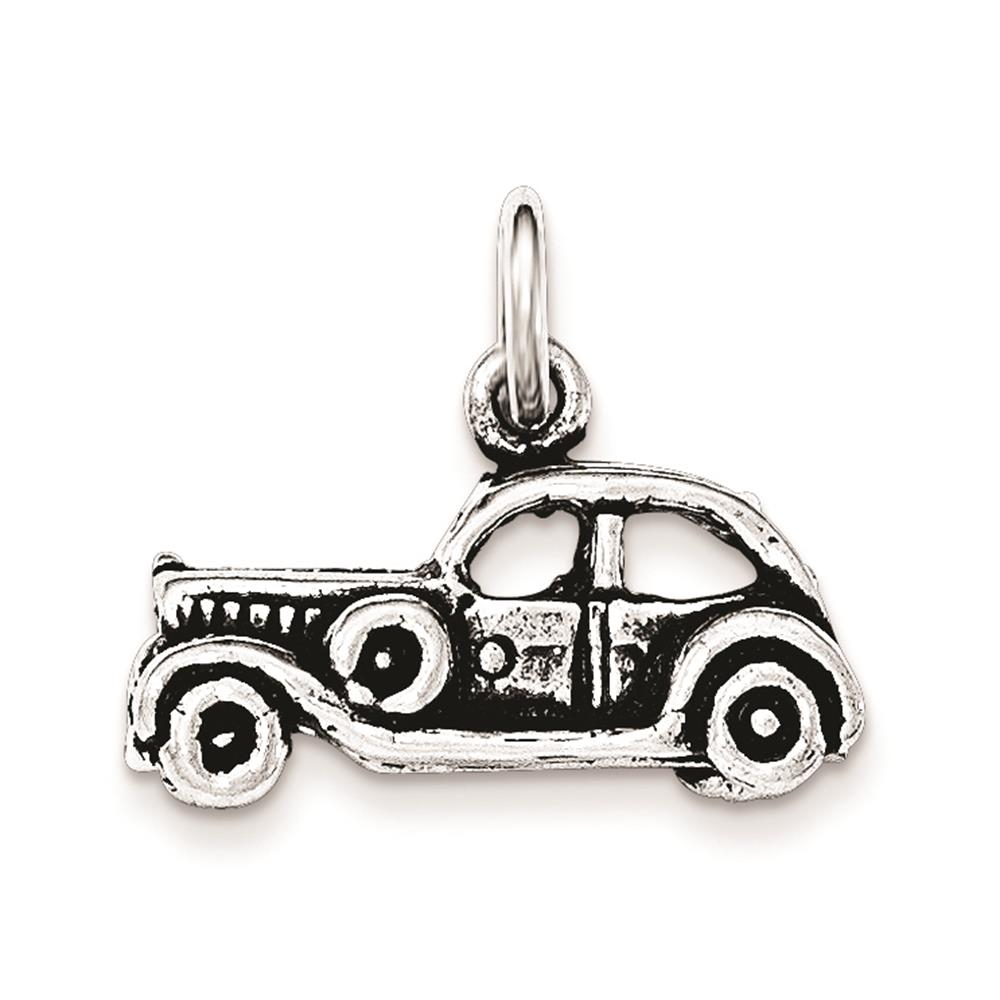 Ladies Silver Antiqued 3-D Old Fashioned Car Polished Open-bottom Charm Pendant