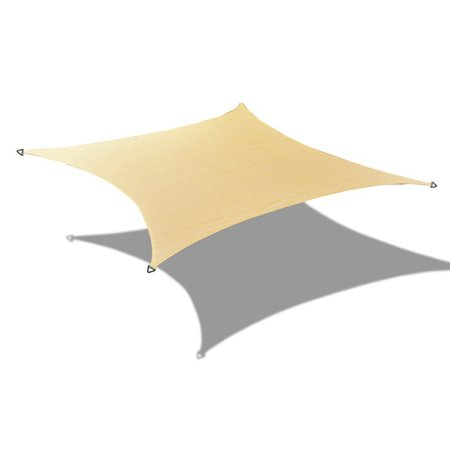Alion Home Alion Home HDPE Square Beige Sun Shade Sail Permeable Canopy For Patio Pool Deck Porch Garden 19