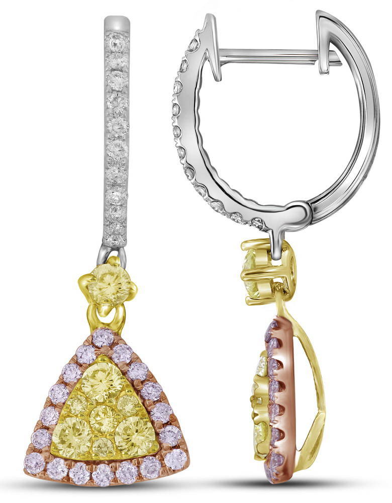 14kt White Gold Womens Round Yellow Pink Diamond Triangle Dangle Earrings 1-1 20 Cttw by