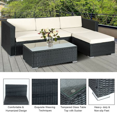 5PCS Rattan Wicker Table Shelf Garden Sofa Patio Furniture Set W/ Cushion Black - image 5 de 9