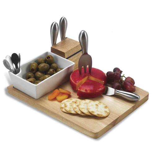 Cutting Board & Tools Set in Natural Wood Finish