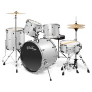 Ashthorpe 5-Piece Full Size Adult Drum Set with Remo Heads & Premium Brass Cymbals - Complete Professional Percussion Kit with Chrome Hardware - Multiple Colors