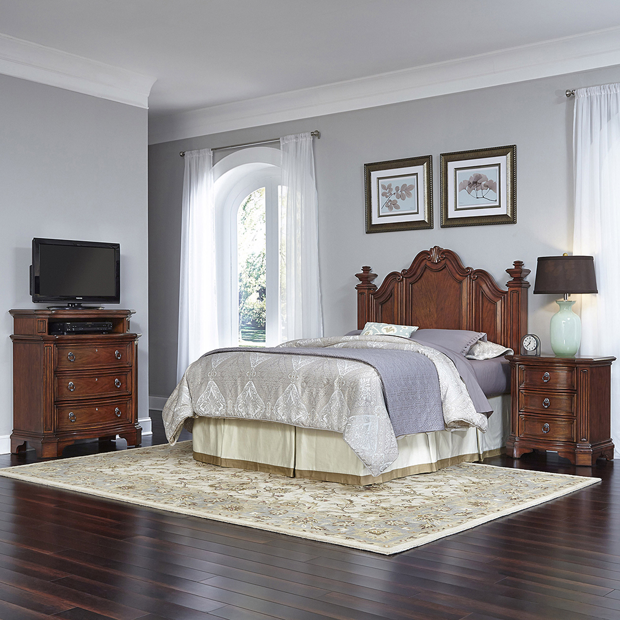 Home Styles Santiago Queen/Full Headboard, Night Stand and Media Chest