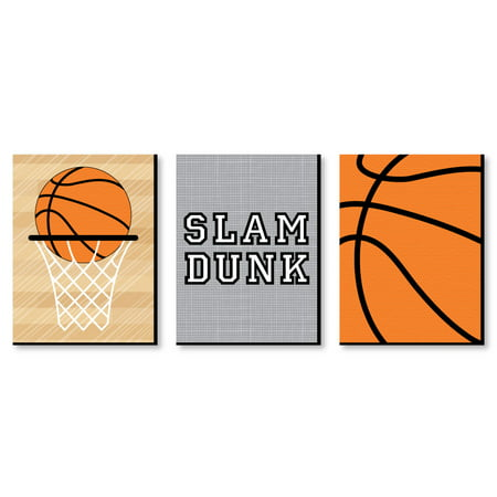 "Nothin' But Net - Basketball - Sports Themed Wall Art & Kids Room Decor - 7.5"" x 10"" - Set of 3 Prints"