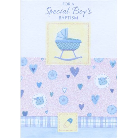 Designer Greetings Blue Bassinet With Glitter: Special Boy Baptism Card](Special Event Invitations)