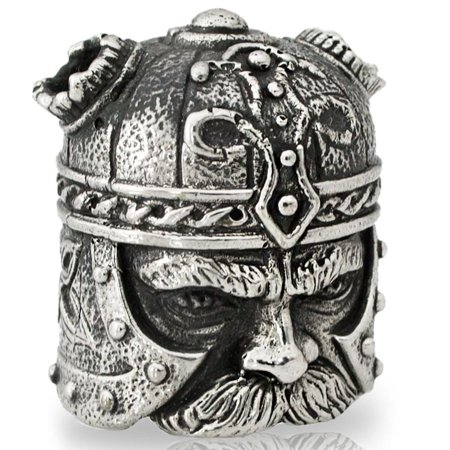 Viking Head Paracord / Lanyard Bead in Nickel Silver for Jig Pro Shop by Alloy Army of Eurasia