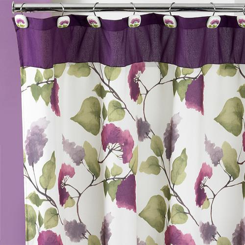 Beautiful Water Color Style Painted Lilac Shower Curtain and Hooks Set or Separates Hooks only