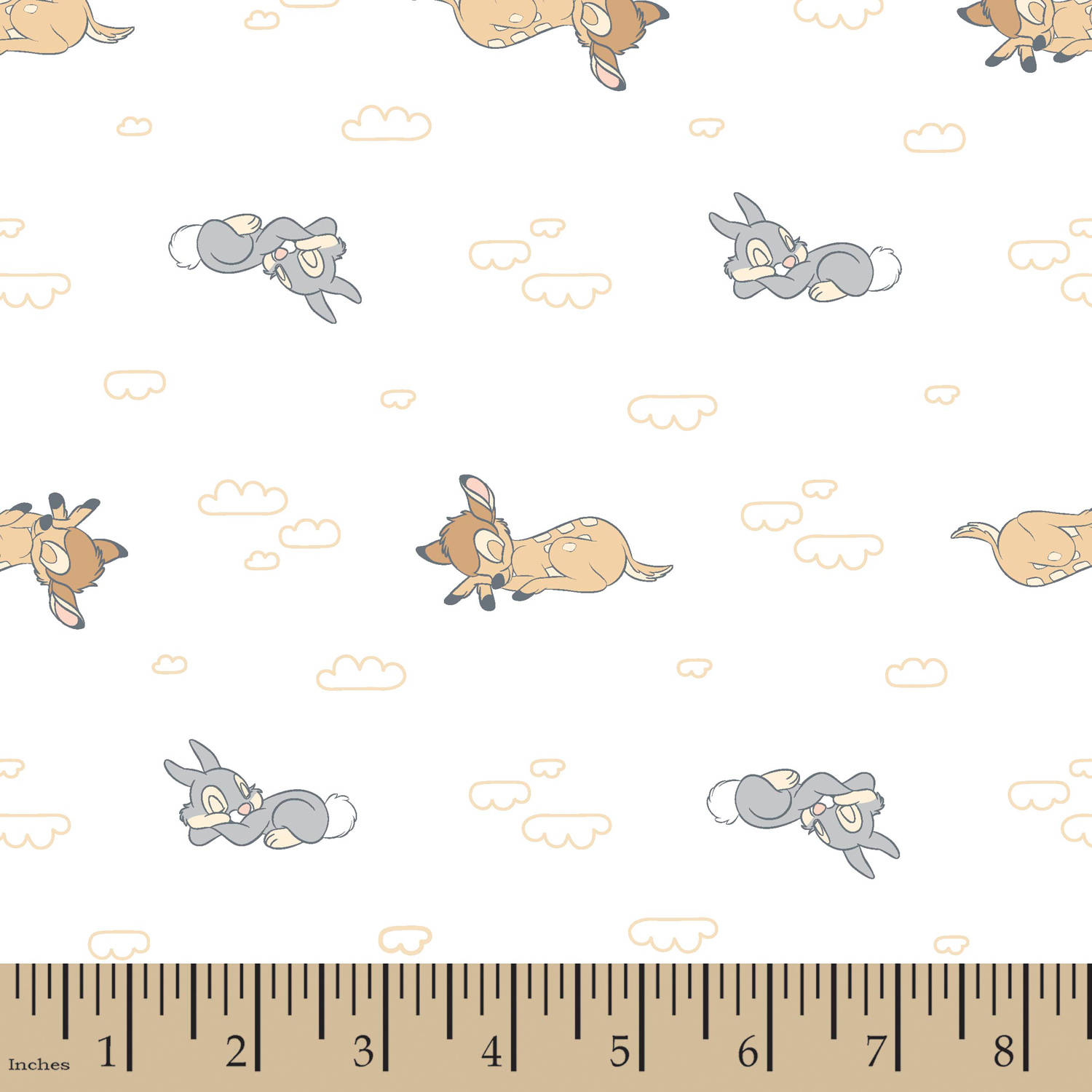 "Disney Bambi Nursery Sweet Dreams Bambi, Flannel, White, 42/43"" Width, Fabric by the Yard"