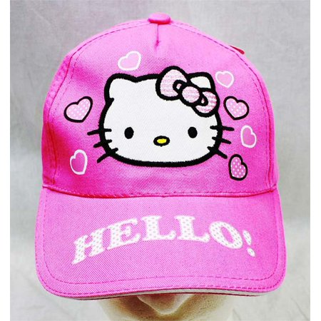 Kitty Baseball (Baseball Cap - Hello Kitty - Pink Heart Pink Hat Kid Girls New)
