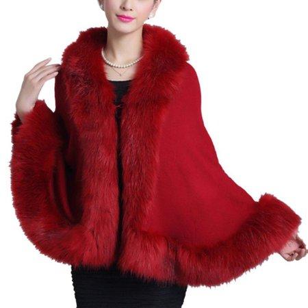 Winter Women Warm Coat Faux Fur Shawl Cape Outwear Jacket Parka Overcoat (Faux Fur Cape)